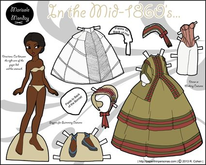 1860's historical printable paper dolls in full color. Two dolls with dresses, underwear, shoes and bonnets.