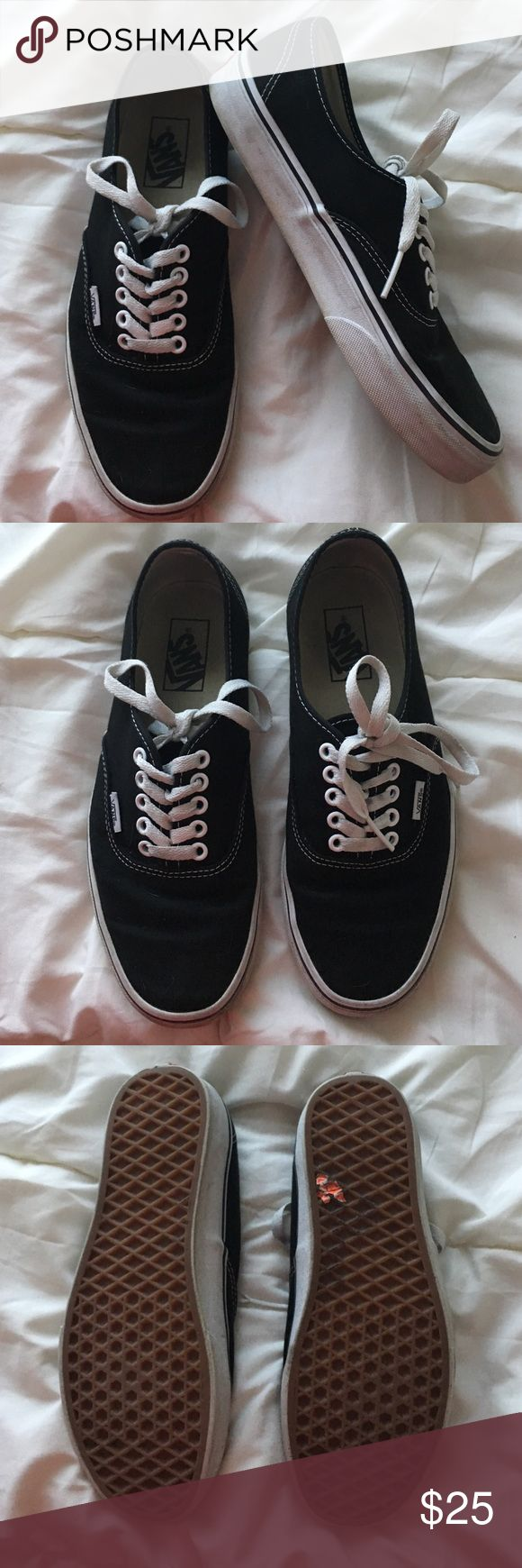 Black Vans Authentic Skate Shoe Black laced vans women's size 9 men's size 7.5 Vans Shoes Sneakers