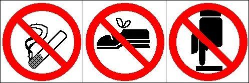 verboden te roken/geen schoenen/niet aanraken