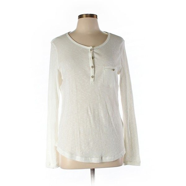 Pre-owned H&M Long Sleeve Henley Size 12: Beige Women's Tops ($17) ❤ liked on Polyvore featuring tops, beige, h&m tops, long sleeve tops, beige top, white long sleeve top and white tops
