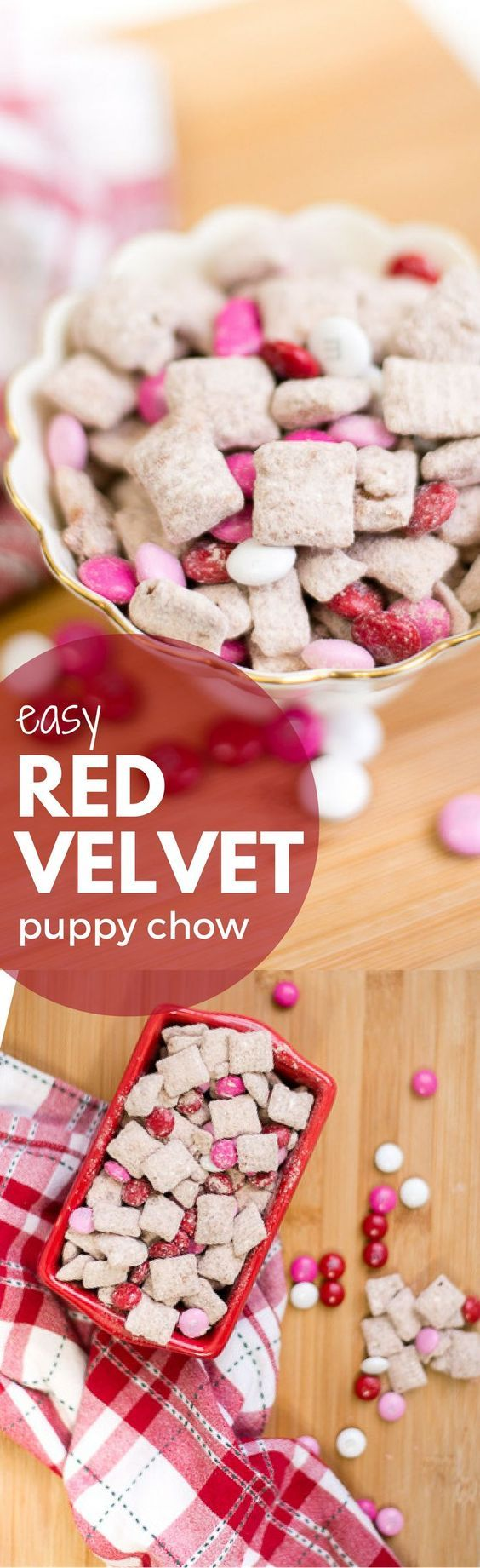 this red velvet muddy buddy recipe is better than the original (or puppy chow as some call it) - easy and delicious!