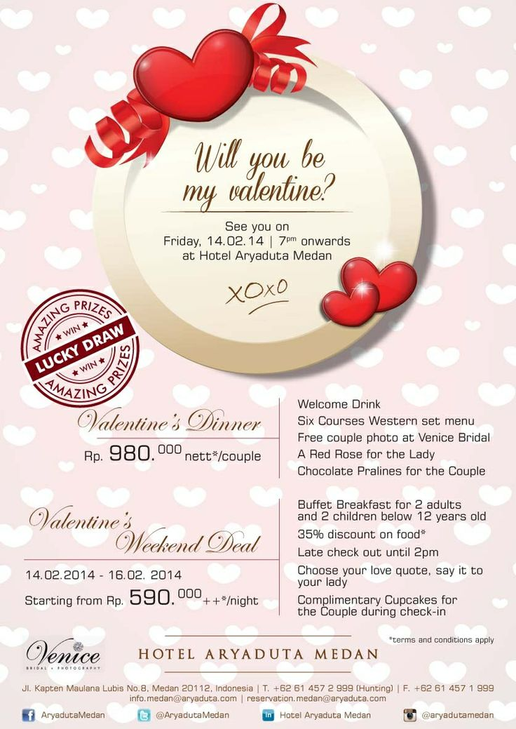 Valentine's Dinner Package Friday, 14 February 2014 at 7 pm onwards