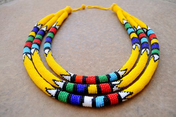 Triple rope necklaceyellow African by akwaabaAfrica on Etsy