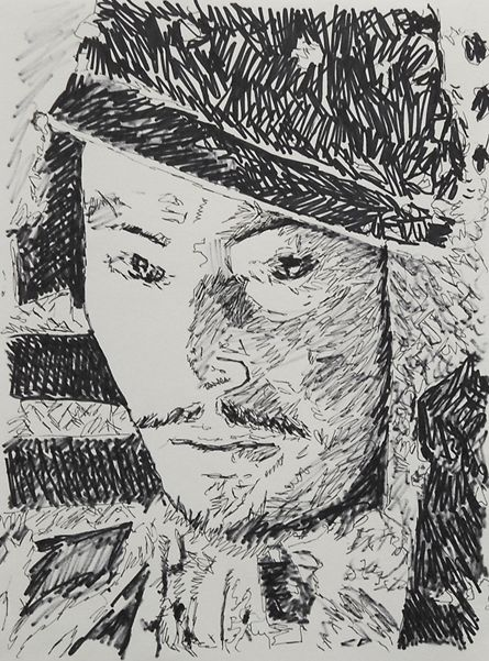"""This drawing is from a still of Kurosawa's """"Seven Samurai."""" It was drawn with a Schneider pen and a Sharpie on 9 inch x 12 inch paper."""