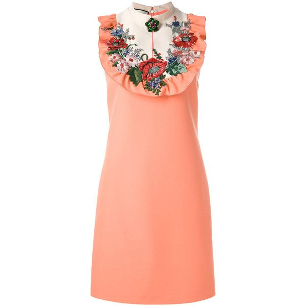 Gucci embroidered dress (7 380 BGN) ❤ liked on Polyvore featuring dresses, gucci, pink sleeveless dress, flower applique dress, applique dress, blossom dress and back zipper dress