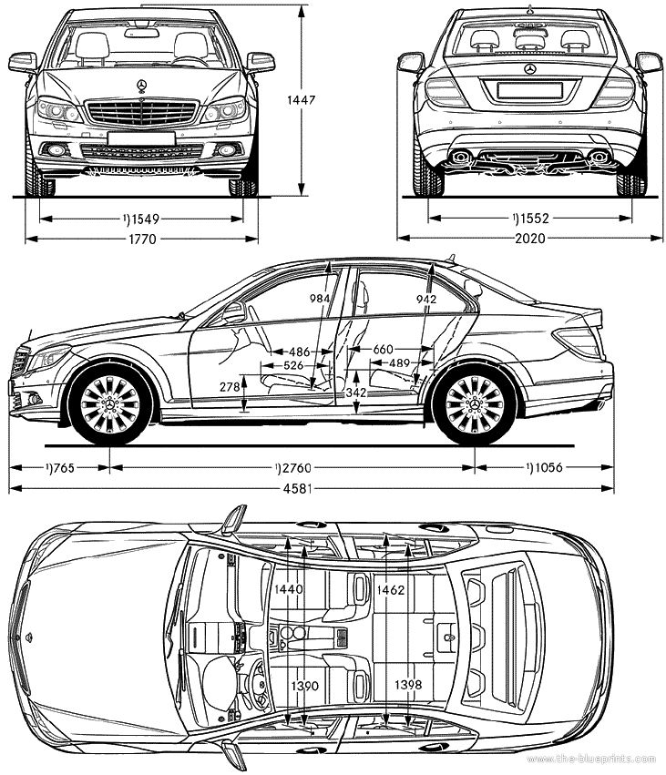 Mercedes C Class Dimensions 2010 Blueprints Cars Mercedes