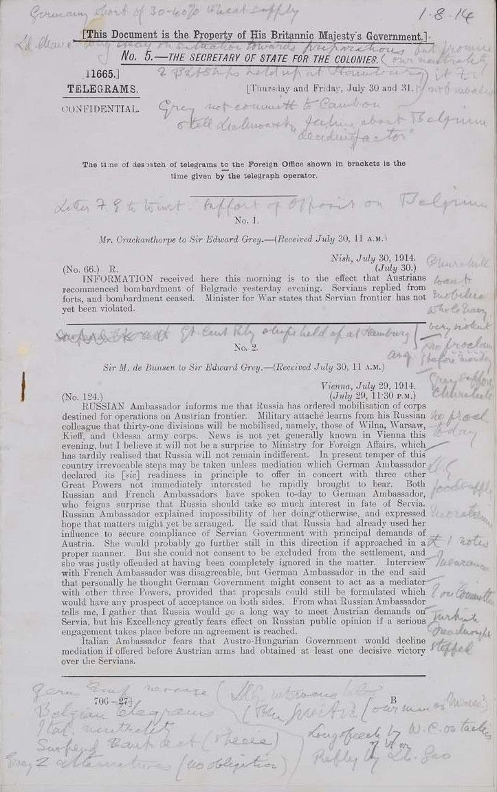 The Outbreak of War: Foreign Office telegrams with Lewis Harcourt's notes of Cabinet discussions on the eve of British intervention, 2–3 August 1914 | A principle of Cabinet government was that decisions should be made collectively and individual opinions should not be recorded. Lewis Harcourt was warned not to keep a record, but he jotted down notes on Foreign Office telegrams, and then transcribed them each evening. (CMD 6231)