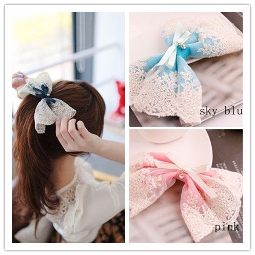 New 2014 Korean Style Lace Flower Hair Accessories Hair Clip Boutique Hair Bows Fashion Women Jewelry  F036 US $2.49