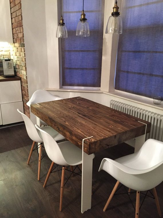 Modern Dining Table Kitchen Table Reclaimed wood corian Decor Handmade