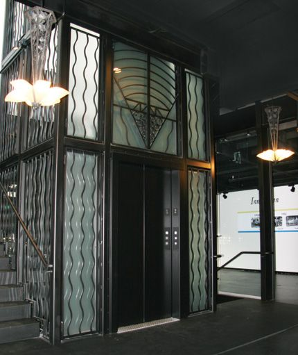 art deco elevator an art deco elevator almost as beautiful as the cars beyond it art deco. Black Bedroom Furniture Sets. Home Design Ideas