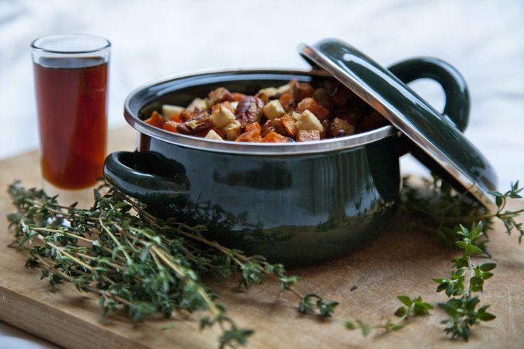 Macédoine de légumes-racines rôtis au thym et à l'érable