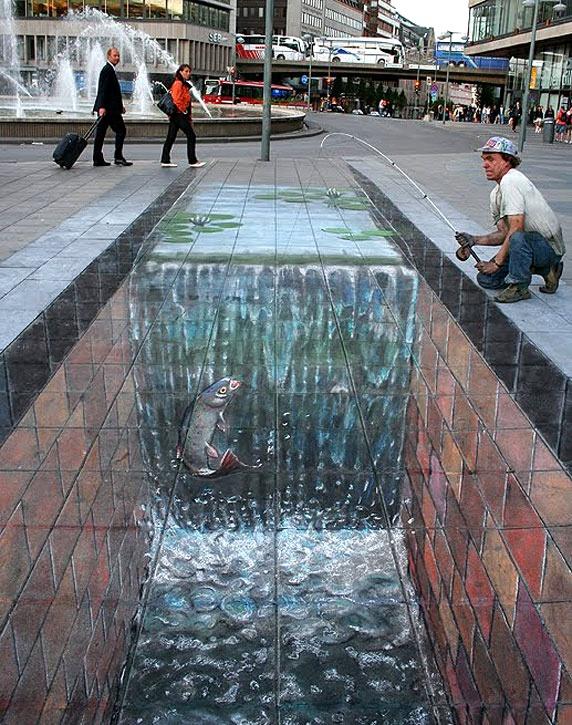 Julian Beever 3D chalk street art