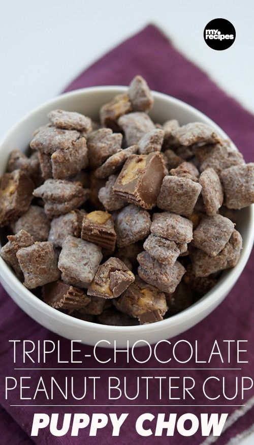 This recipe is a staff favorite. Sweet, creamy, and slightly salty, Triple-Chocolate Peanut Butter Cup Puppy Chow will become your new, go-to way to make the classic chocolate-cereal treat. | MyRecipes