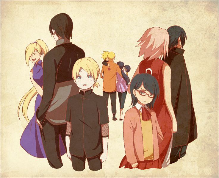 Naruto - Sasuke, Naruto, Sai, Inojin, Bolt, Sakura, Sarada, Ino, Hinata and Himawari I'm still wondering if inojin is a boy or girl...