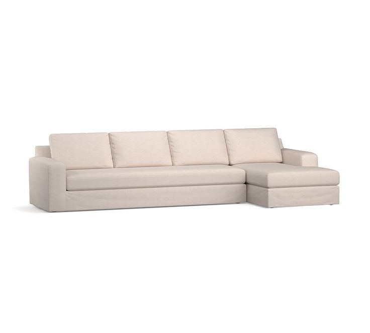 Big Sur Square Arm Slipcovered Sofa With Chaise Sectional