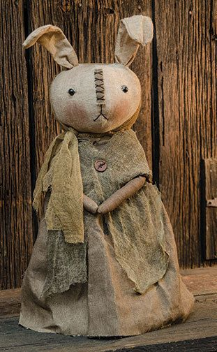 PRIMITIVE FABRIC BETHANY BUNNY Country Stitched Doll Seasonal Easter