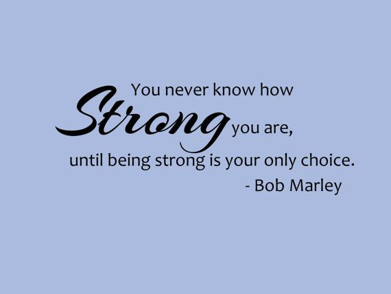 Bob Marley Quote- You Never Know How Strong You Are Wall
