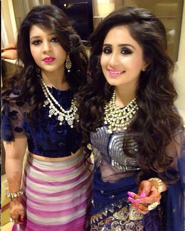 JADE Bride Trisha Mehta & Bridesmaid Chesta Mehta, beam in ensembles gilded in intricate sequins and modish embellishments. #jadecouture #monicakarishma