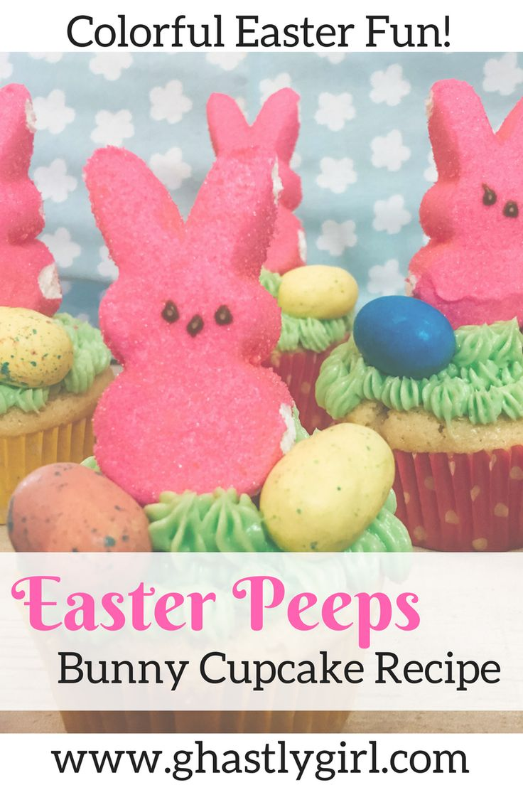 A colorful and fun treat for Easter! These vanilla cupcakes are topped with buttercream icing, peeps bunnies, and robin egg candies for a treat kids will love! #Eastercupcakes #cupcakerecipes #Eastersnacks #Easter