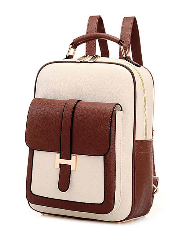 Versatile Color Block Zip Closure Cheap Backpack
