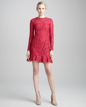 2013 Fall Trend Lace: Ruffle-Hem Long-Sleeve Lace Dress, Cassis by Valentino