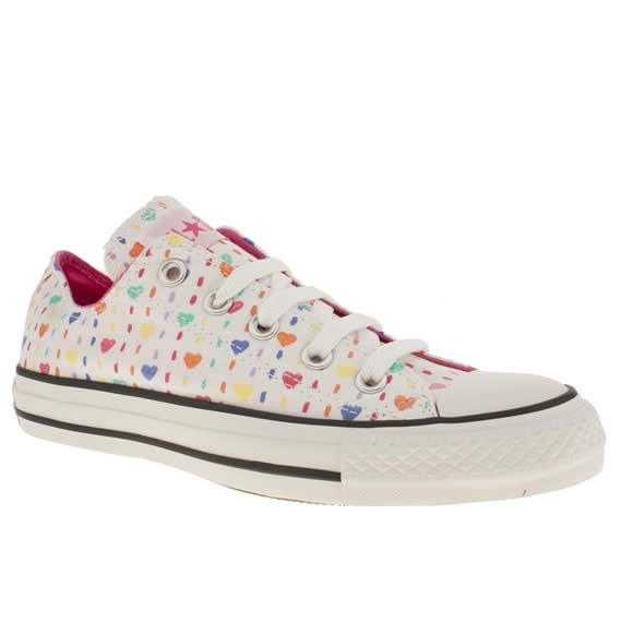 Women's White & Pink Converse Cons As Ox Iii Hearts ...