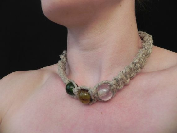 Thick Hemp Necklace with Glass Beads