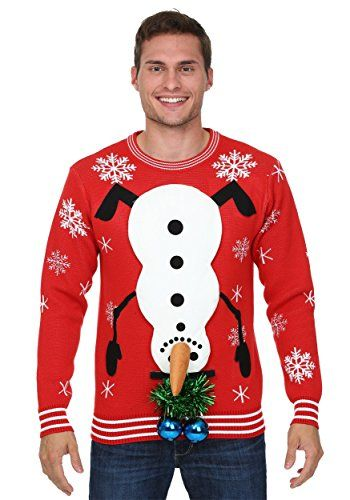 Fun Costumes Mens Snowman Balls 3D Ugly Christmas Sweater