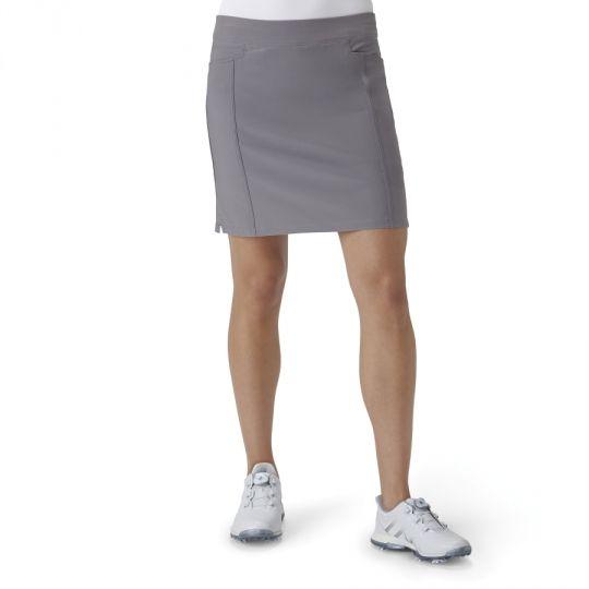 Grey Adidas Ladies Ultimate Adistar Pull On Golf Skort. More outfits at @lorisgolfshoppe