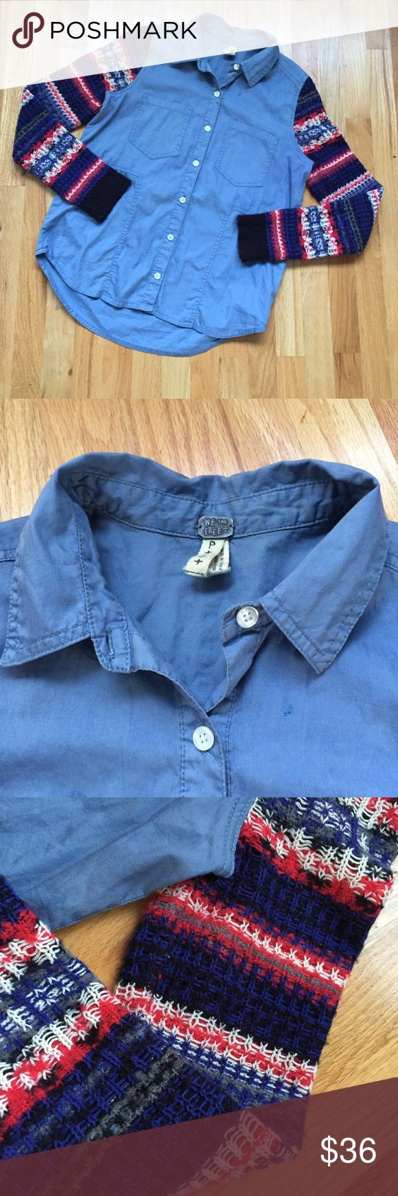 """Free People Sweater Shirt Denim Chambray boho Cozy and Fun Cortton Light denim shirt with knit sleeves.  Excellent used condition with some pill on the cuffs.  Chest 40"""" and front length 25"""" Free People Tops Button Down Shirts"""