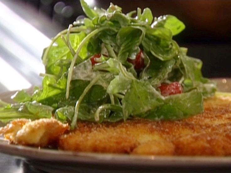 Chicken Paillard with Creamy Parmesan Salad recipe from Tyler Florence via Food Network