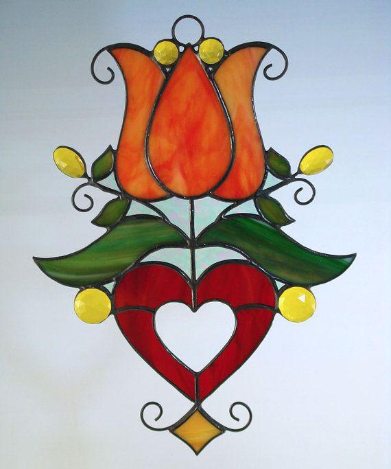 Pennsylvania Dutch Style Folk Art Stained Glass Tulip Suncatcher