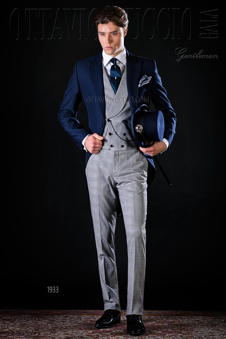 Alpaca mohair wool blue and gray morning coat #groom #wedding #tuxedo #blue #grey #princeofwales #luxury #menswear #madeinitaly