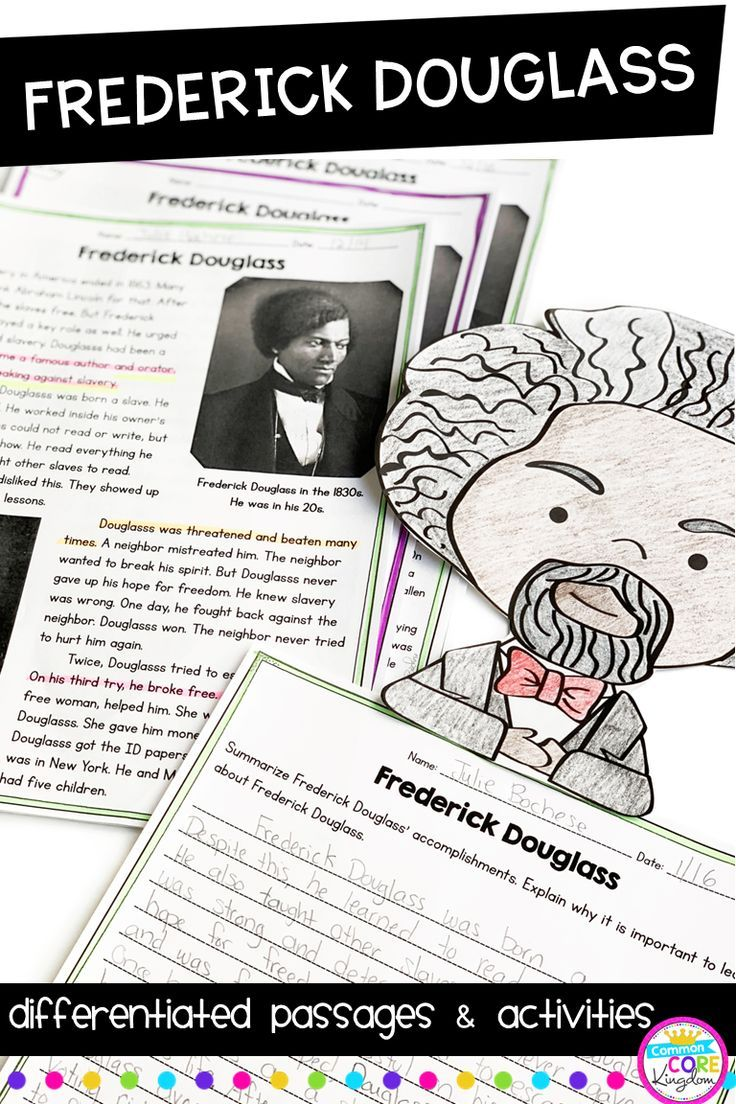Frederick Douglass Differentiated Reading And Writing Activities Black History Month Activities Kids Writing Activities Writing Activities [ 1104 x 736 Pixel ]