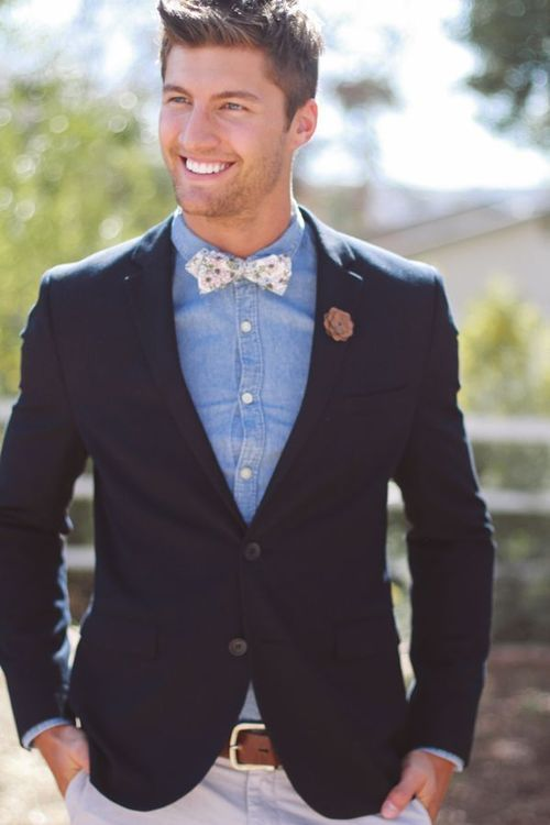 Another Favorite. Denim Shirt Navy Blazer And A Clean Bow Tie That Pops. | Style | Pinterest ...