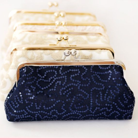 Navy Blue Sequins Tulle Handmade Clutch are perfect gifts for the Bridesmaids as well as mother of the bride and mother of the groom!  Wedding Clutches by ANGEE W.