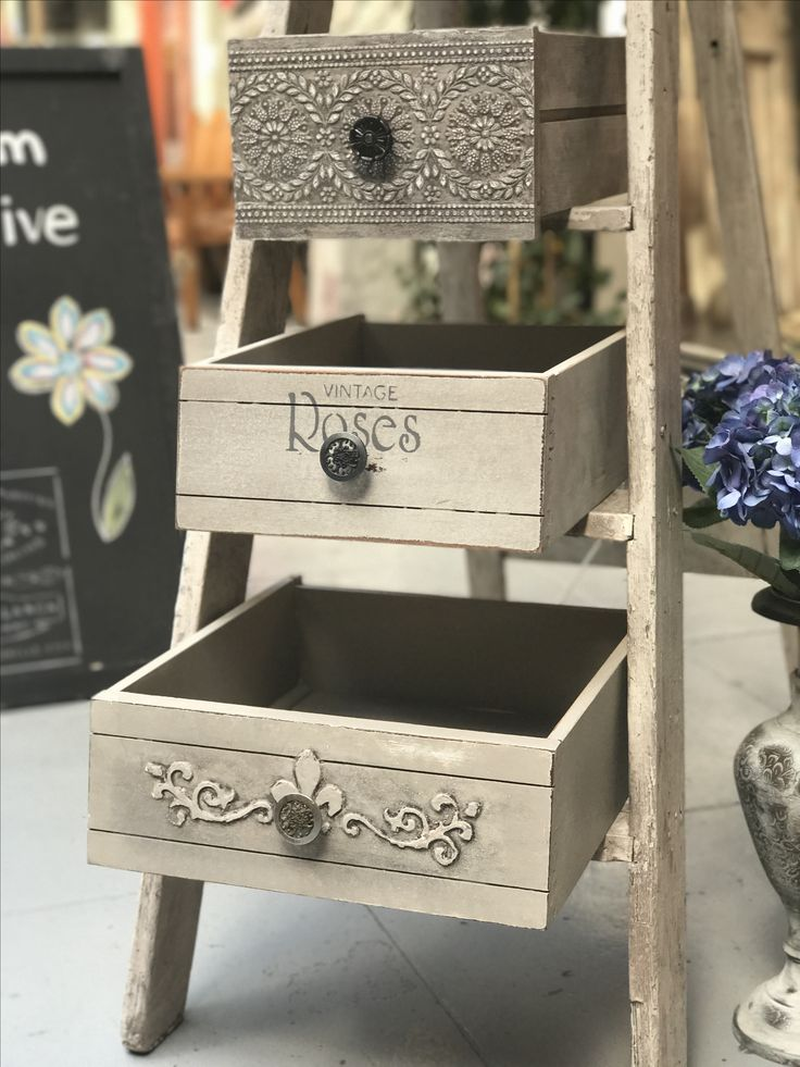 Textured drawer and ladder shelves using Heirloom Decorative Paint.