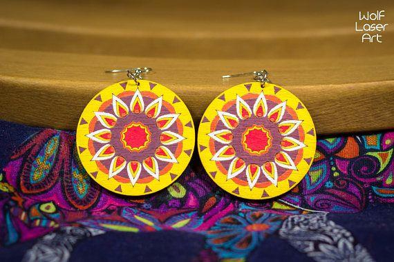 Adult coloring wooden mandala earring pair - meditation DIY jewelry Kit - self made gift - gift supplier - wedding gift - fashion -handmade