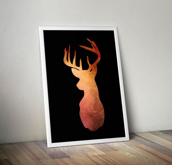 Deer head in orange and rose gold hues on black background- decorative digital printable wall art - ready to frame  This is a digital file that you