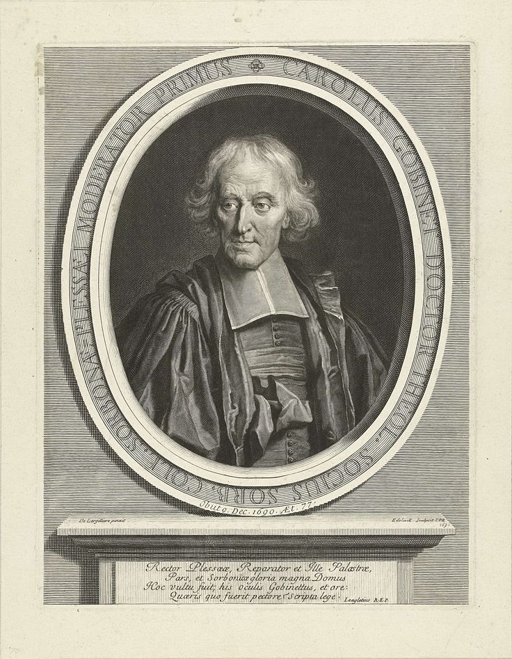 Gerard Edelinck | Portret van Charles Gobinet, Gerard Edelinck, Lodewijk XIV (koning van Frankrijk), 1691 | Portret van Charles Gobinet (1612-1690) afgebeeld in ovale omlijsting met tekst, waaronder console met Latijnse tekst bestaande uit vier regels.