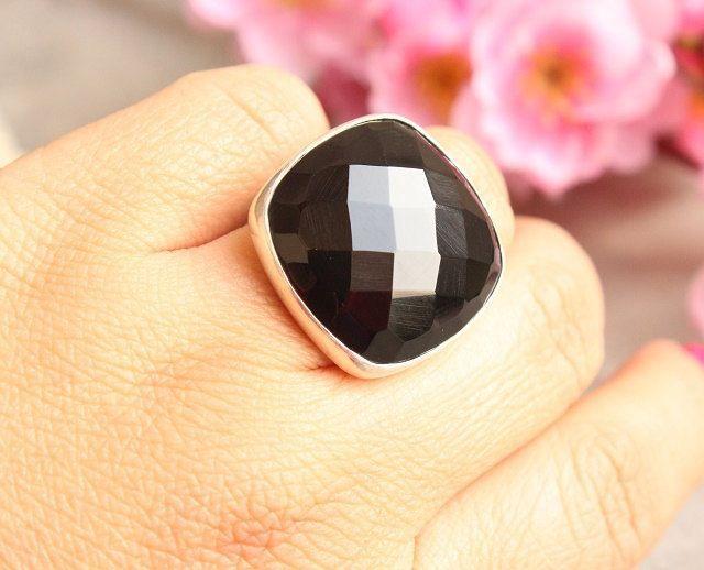 Rock star ring - Black onyx ring - Bold ring - Black ring - statement