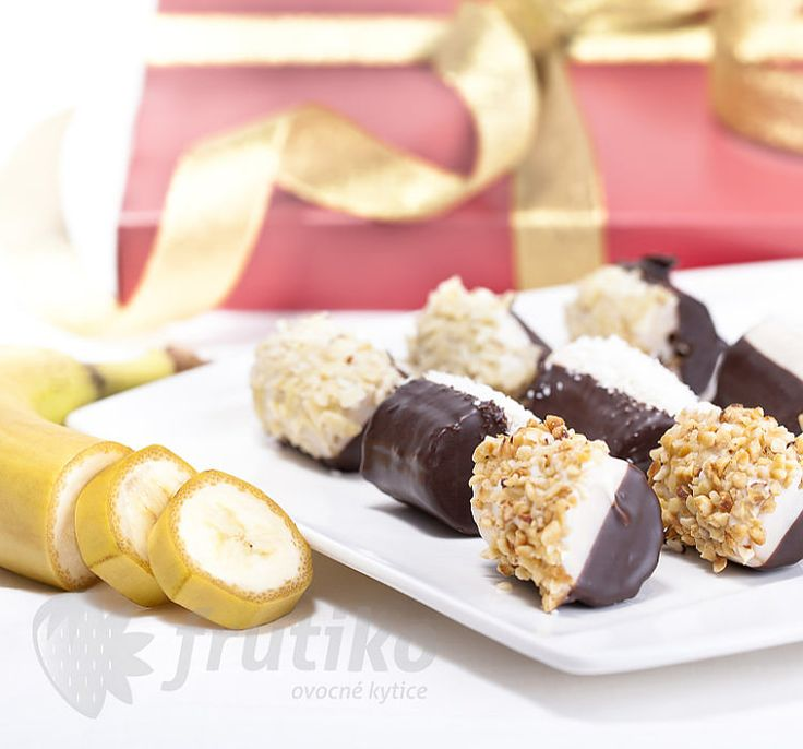 Bananas in chocolate with nuts, coconuts and almonds.