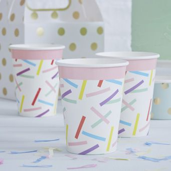 These striking paper cups are perfect for a birthday party celebration!