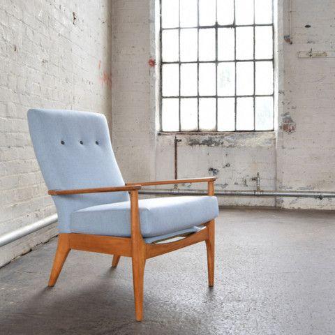Bespoke Parker Knoll PK 988 Chair restored by Florrie + Bill in Kirkby Design Leaf Eco-Wool. Shot at #FANDBHQ