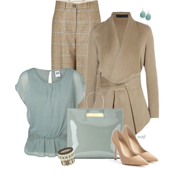 A fashion look from November 2014 featuring short sleeve blouses, open front jacket and tartan pants. Browse and shop related looks.