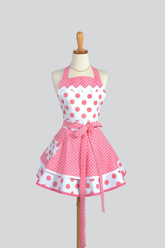 Ruffled Retro Apron - Sexy Womens Apron in Bubblegum Pink Polka Dots Handmade Full Kitchen Apron Personalize or Monogram
