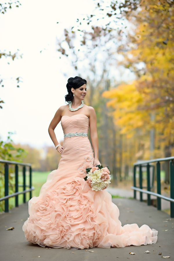 Salmon wedding dress  |  sarah kossuch photography. Wouldn't do the color, although I love blush pink, but I actually like the dress!