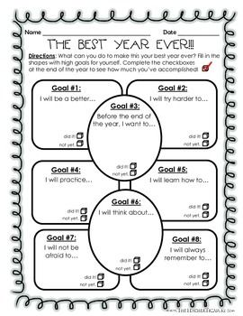 Goal Setting: The Best Year Ever! - What can you do to make this your best year ever? Fill in the shapes with high goals for yourself. Complete the check boxes at the end of the year to see how much you've accomplished! Awesome activity for the beginning of the year!