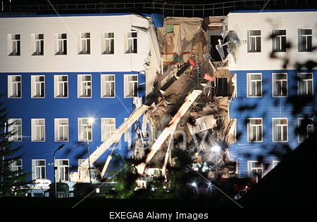 Omsk Region, Russia. 13th July, 2015. 23 soldiers are known to have been killed when barracks of airborne troops training centre in #Omsk Region, Siberia collapsed. Credit: TASS/Alamy Live News
