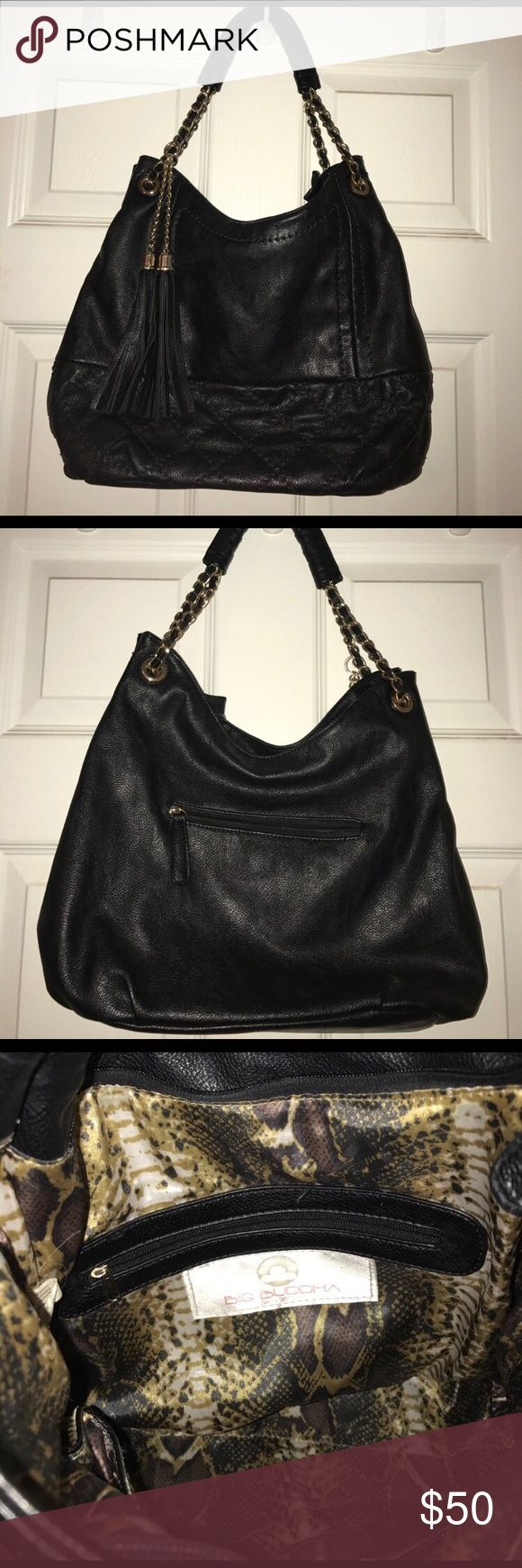Big Buddha bag Black purse with gold chains and tassels inside is cheetah print very clean and in great condition Big Buddha Bags Shoulder Bags